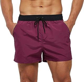 SILKWORLD Men's Quick Dry Swim Trunks Solid Swimsuit...