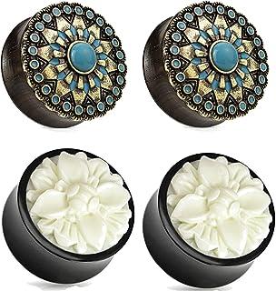 Zaya Body Jewelry 2 Pairs Black Wood Turquoise White Buffalo Flower Wood Ear Plugs Tunnels 00g 1/2 9/16 5/8 3/4 7/8 1 Inch