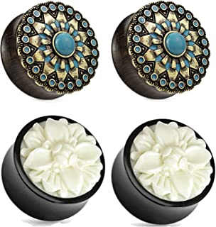 Zaya Body Jewelry 2 Pairs Black Wood Turquoise White Buffalo Flower Wood Ear Plugs Tunnels 00g 1/2 9/16 5/8 3/4 7/8 1 Inch