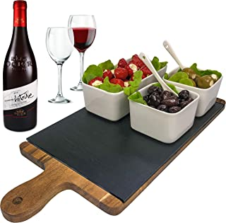 Solander Skelf Acacia Wooden Tray Cheese Slate Board SET | Large One Ceramic Rectangular & 2-pieces Square Dipping Bowls with 2 Tasting Ceramic Spoons Modern Dips Set | Elegant Serving Tray