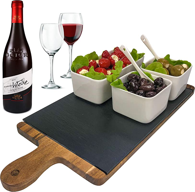 Solander Skelf Acacia Wooden Tray Cheese Slate Board SET Large One Ceramic Rectangular 2 Pieces Square Dipping Bowls With 2 Tasting Ceramic Spoons Modern Dips Set Elegant Serving Tray