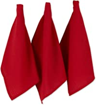 DII Recycled Cotton Kitchen Collection Dish Towel Set, 18x26, Red 6 Piece