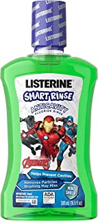 Listerine Smart Rinse Kids Alcohol-Free Fluoride Mouthwash, Marvel Avengers, Mint Flavor, 500 mL