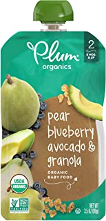Plum Organics Stage 2 Organic Baby Food, Pear, Blueberry, Avocado & Granola, 3.5 Ounce Pouch (Pack of 6)