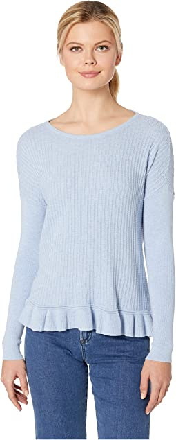 Ruffle Hem Boat Neck Sweater