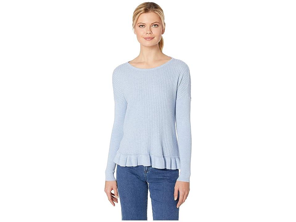 Lilla P Ruffle Hem Boat Neck Sweater (Glass) Women