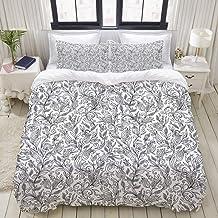 MOKALE Duvet Cover Set, Black White Sketch Flower Swirl Print, Decorative 3 Piece Bedding Set with 2 Pillow Shams, Double ...