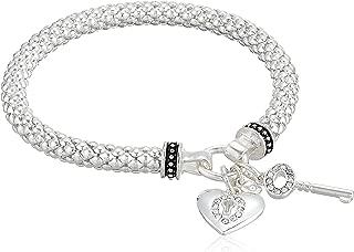 Women's Boxed Silver Heart Key Stretch Bracelet, Size: 0