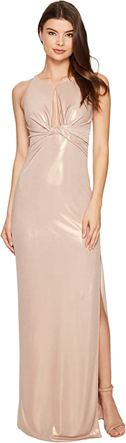 Sleeveless Round Neck Metallic Jersey Gown w/ Front Keyhole