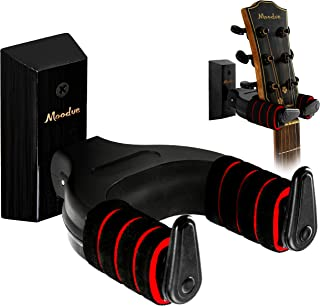 Guitar Wall Mount Hanger, Moodve Auto-lock Guitar Holder,Wooden Base Guitar Hanger, Black Guitar Hook Stand For Acoustic G...