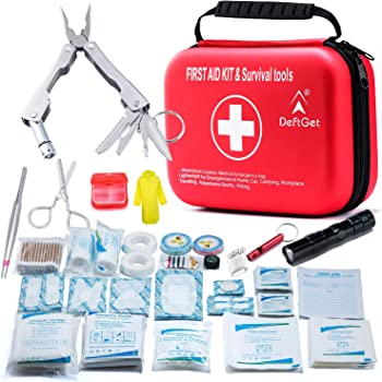 Compact First Aid Kit - Mini Survival Tools Box - Waterproof Outdoor Medical Emergency Bag Lightweight for Emergencies at Home Car Camping Workplace Traveling Adventures Sports Hiking by deftget