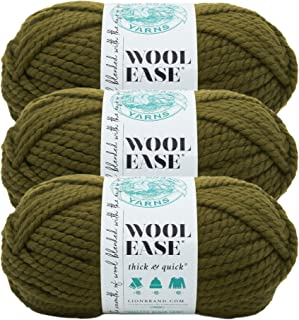 (3 Pack) Lion Brand Yarn 640-178F Wool-Ease Thick and Quick Yarn, 97 Meters, Cilantro