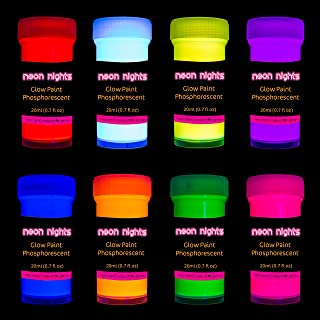 Premium Glow in the Dark Acrylic Paint Set by neon nights – Set of 8 Professional Grade Neon Craft Paints – Long-Lasting S...