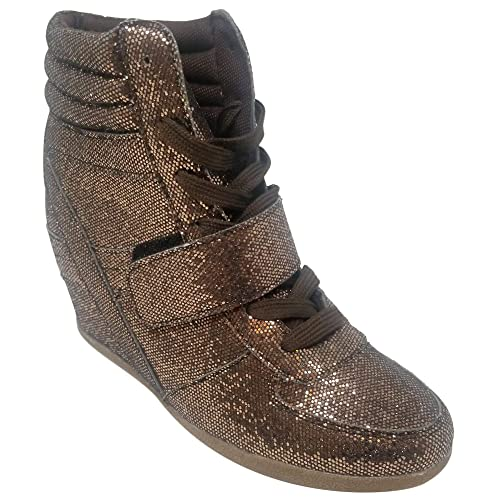 6807bb2d9cf TravelNut Special Easter Sale Steve Metallic High Top Lace Up Wedge  Sneakers for Women Teen Girls