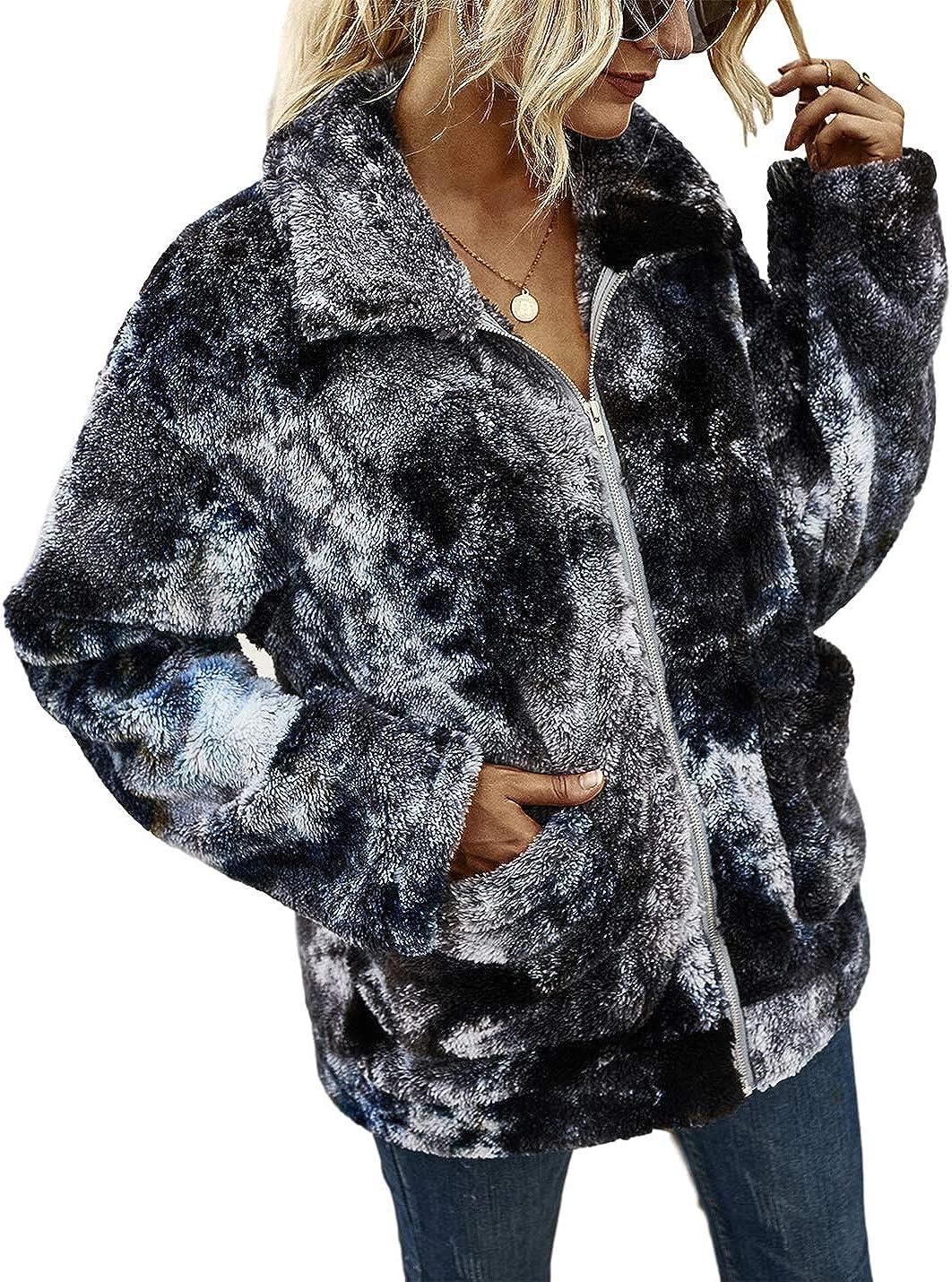 Uaneo Womens Tie Dye Fleece Casual Loose Lapel Zip Up Long Sleeve Jacket Coat(Black-S)