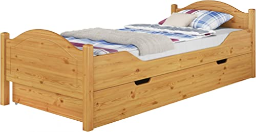 Erst-Holz assivholz-Bett Kiefer Natur 100x200 Einzelbett Rollrost Matratze Bettkasten 60.30-10 M S4