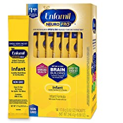 Enfamil NeuroPro Baby Formula Milk Powder, 14 single serve packets (17.6 gram each) - MFGM, Omega 3