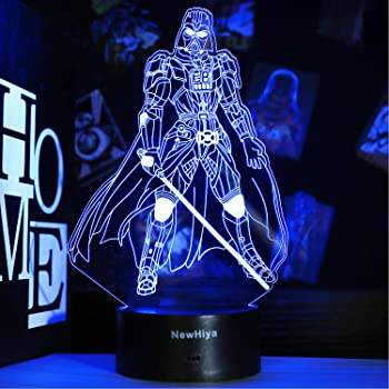3D Star Wars Night Light, 16 Colors Changing Night Lights with Remote & Smart Touch, Christmas and Birthday Gifts for Kids and Star Wars Fans (B Darth Vader)