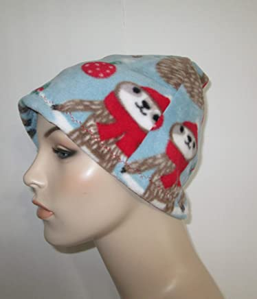 9212e5555 Womens Sloth Fleece Cap Cancer Chemo Hat Alopecia Head Cover Cancer Beanie