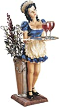 """Design Toscano Genevieve the Buxom French Maid Pedestal Sculptural Table,Full Color(""""Silver vase with flower not included"""")."""
