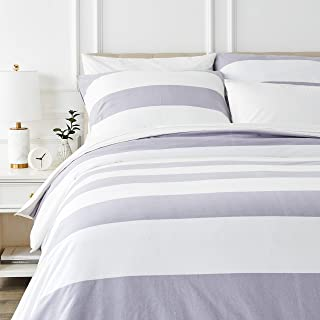 Amazon Basics Parure de lit avec housse de couette en flanelle 200 x 200 cm/65 x 65 cm x 2, Gris rayé