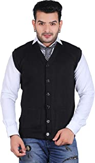 Tubination Cardigan Pullover Men's Black Front Open Buttoned Sleeveless Cardigan/Woolen Jacket/Waist Coat/Sweater with Poc...