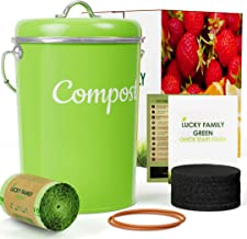 Kitchen Compost Bin Container - 1.3 Gallon Indoor Countertop Composter Sealed with Lid - 50 Bags, 6 Charcoal Filters Set f...