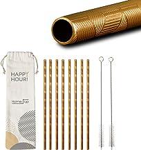 HomeUp Premium Design Goldene Edelstahl Strohhalme - Set 8X gerade, Wiederverwendbare Trinkhalme und 2 Reinigungsbürsten -...