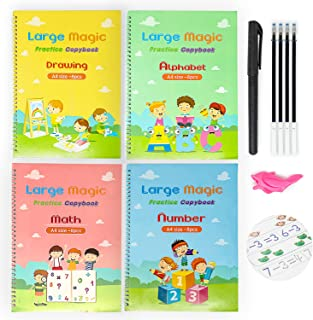4 Large Magic Practice Copybook For Kids, Reusable Magic Copy Book English- Kindergarten Sight Words, Kids Learning Books,...