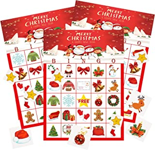 MISS FANTASY Christmas Bingo Game Christmas Party Games Xmas Activities for Families Ugly Party Games for 24 Players Xmas Gifts for Kids (Bingo)