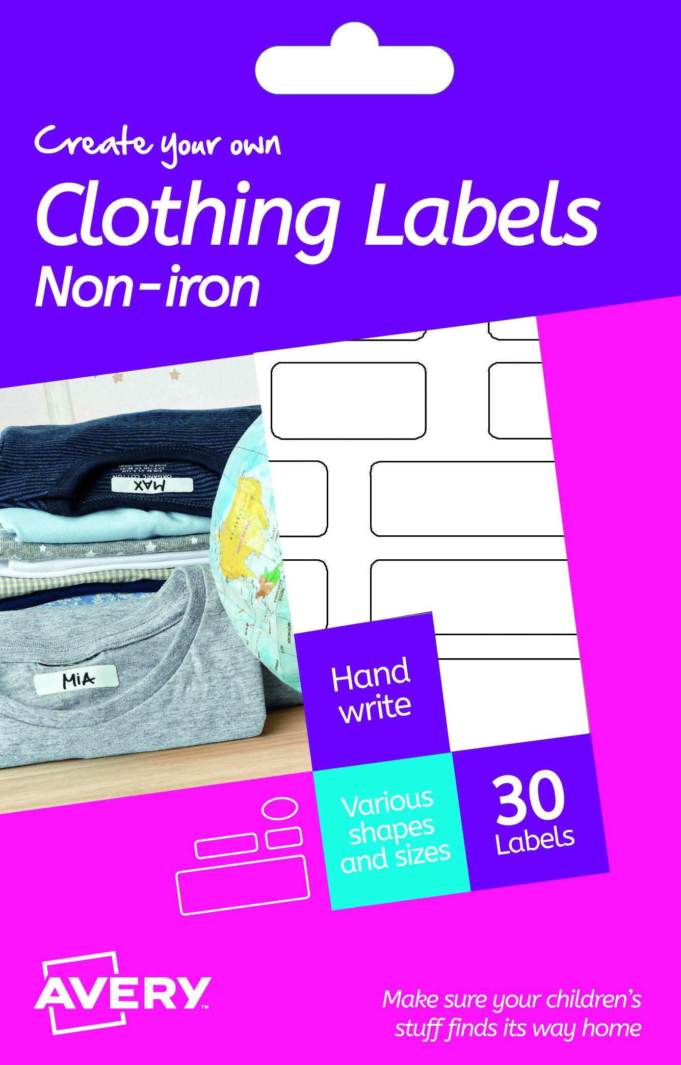 Avery España HNI01. Etiquetas adhesiva permanentes para ropa y calzado sin plancha. 30 etiquetas de diferentes medidas: Amazon.es: Oficina y papelería