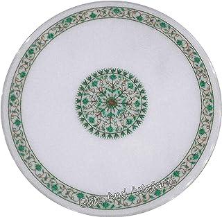 Gifts And Artefacts Table de salle à manger ronde en marbre avec un design unique et des pierres précieuses incrustées de ...