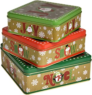 Square Christmas Cookie Tins Nesting Boxes, Set Of 3 Designs Holiday Containers Party Favor Supplies With Window Metal Lid Cover By Gift Boutique