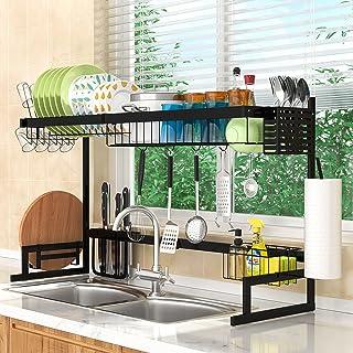 """قفسه خشک کن ظرف ظرفشویی قابل تنظیم (21.7 """"-39.4"""") ، آبکش ظرف بزرگ فولادی ضد زنگ 2 طبقه ، قفسه ظرف روی سینک برای آشپزخانه پیشخوان سازمان ذخیره سازی فضای ذخیره سازی با دارنده ظروف"""