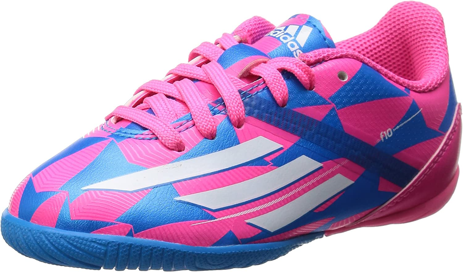 F10 Kids in Football Trainers Neon Pink Running White Solar bluee