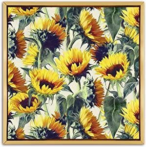 Abstract Canvas Wall Art Sunflowers Canvas Prints Vincent Van Gogh Paintings Floral Picture Artwork Rustic Flower Wall Decor for Living Room Bedroom Home Farmhouse Decoration Golden Frame16x16 inches