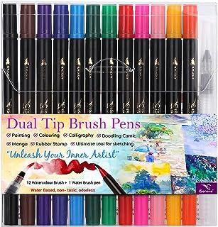 iSerene Watercolor Dual Tip Brush Pen Set 12 with 1 Blending Brush - Soft Felt Tip Markers for Calligraphy, Journaling, Co...