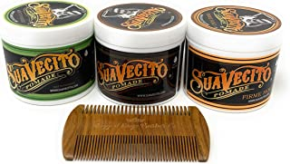Suavecito Pomade Bundle (3 Pack)- Includes Suavecito Original Pomade, Sueavecito Firme Hold Pomade, Suavecito Matte Pomade, wooden comb