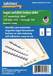 Tabbies Legal Numerical Exhibit Index Tabs, Blue Color Edge, 1/2