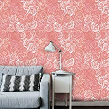 AS Interior Attractive Peel and Stick Self Adhesive White Peach Beautiful Flower Wall Paper Covering Living Room, Bedroom ...