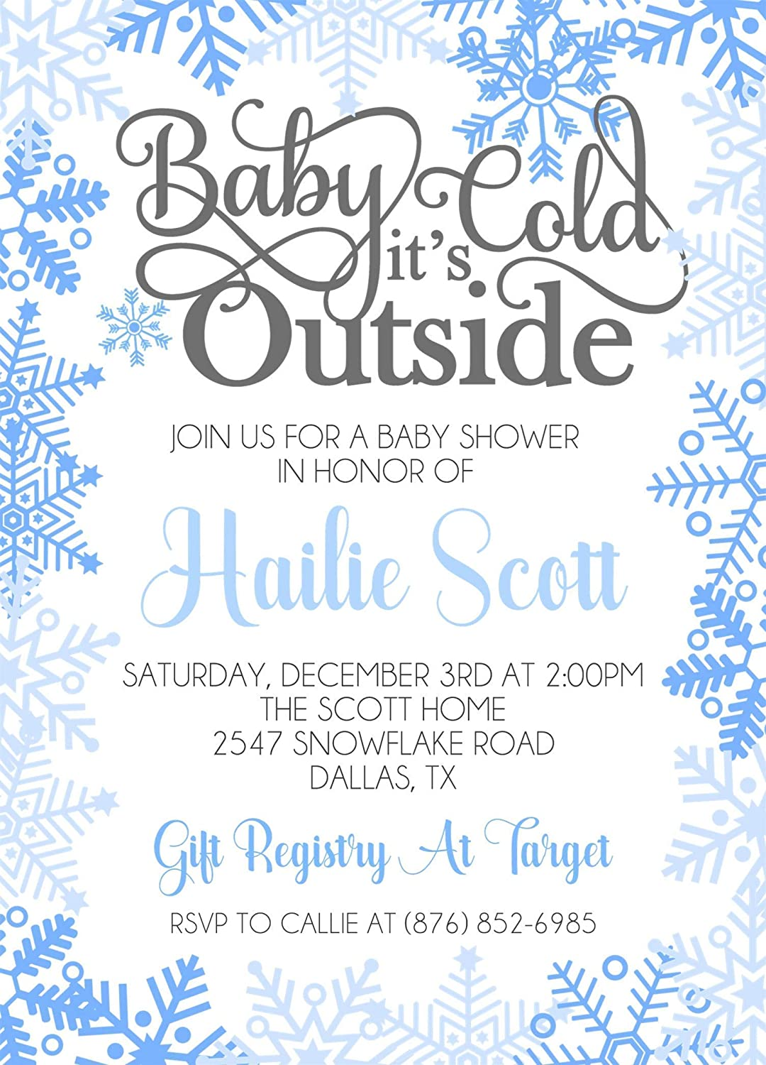 Blue Baby It's Max 45% OFF Cold Outside With Envelop Invitations Shower New Shipping Free Shipping