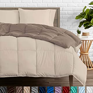 Bare Home Reversible Comforter - Twin/Twin Extra Long - Goose Down Alternative - Ultra-Soft - Premium 1800 Series - Hypoallergenic - All Season Breathable Warmth (Twin/Twin XL, Taupe/Sand)