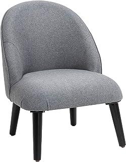 HOMCOM Fauteuil Lounge Design Grand Confort Pieds effilés Bois Massif hévéa revêtement Tissu Lin Gris
