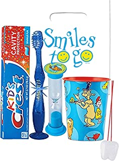 Dr. Seuss Inspired 4pc Bright Smile Oral Hygiene Bundle! Light Up Toothbrush, Toothpaste, Brushing Timer & Mouthwash Rise Cup! Plus Dental Gift Bag &Remember to Brush Visual Aid!