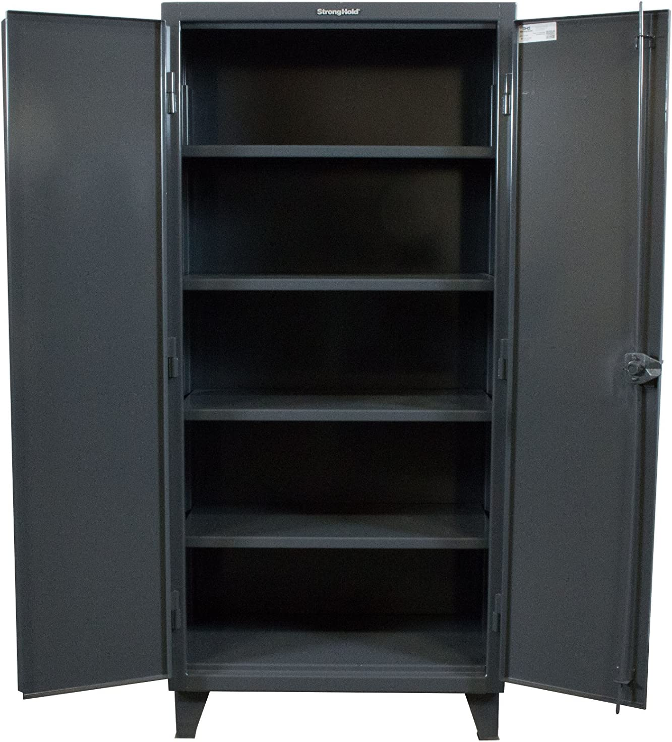 Strong Hold 60 W X 24 D X 78 H Industrial Cabinet Heavy Duty Welded And Assembled 12 Gauge Steel Dark Gray 4 Adjustable Shelves With 1 650 Lbs Capacity Each Usa 56 244