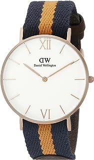 Daniel Wellington Unisex 0554DW Grace Selwyn Rose Gold-Tone Stainless Steel Watch with Striped Nylon Band