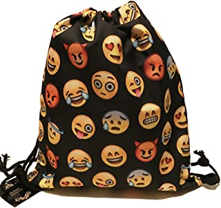 Desire Deluxe Emoti Mochila Mochila deportiva con cordón Emoticon Smileys Bolsa deportiva Bolso bandolera Bolso bandolera Hipster, Negro - 30 días de garantía de devolución de dinero