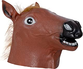 Skeleteen Horse Head Costume Mask - Full Brown Animal Horseman Mascot Mask for Costumes for Adults and Kids
