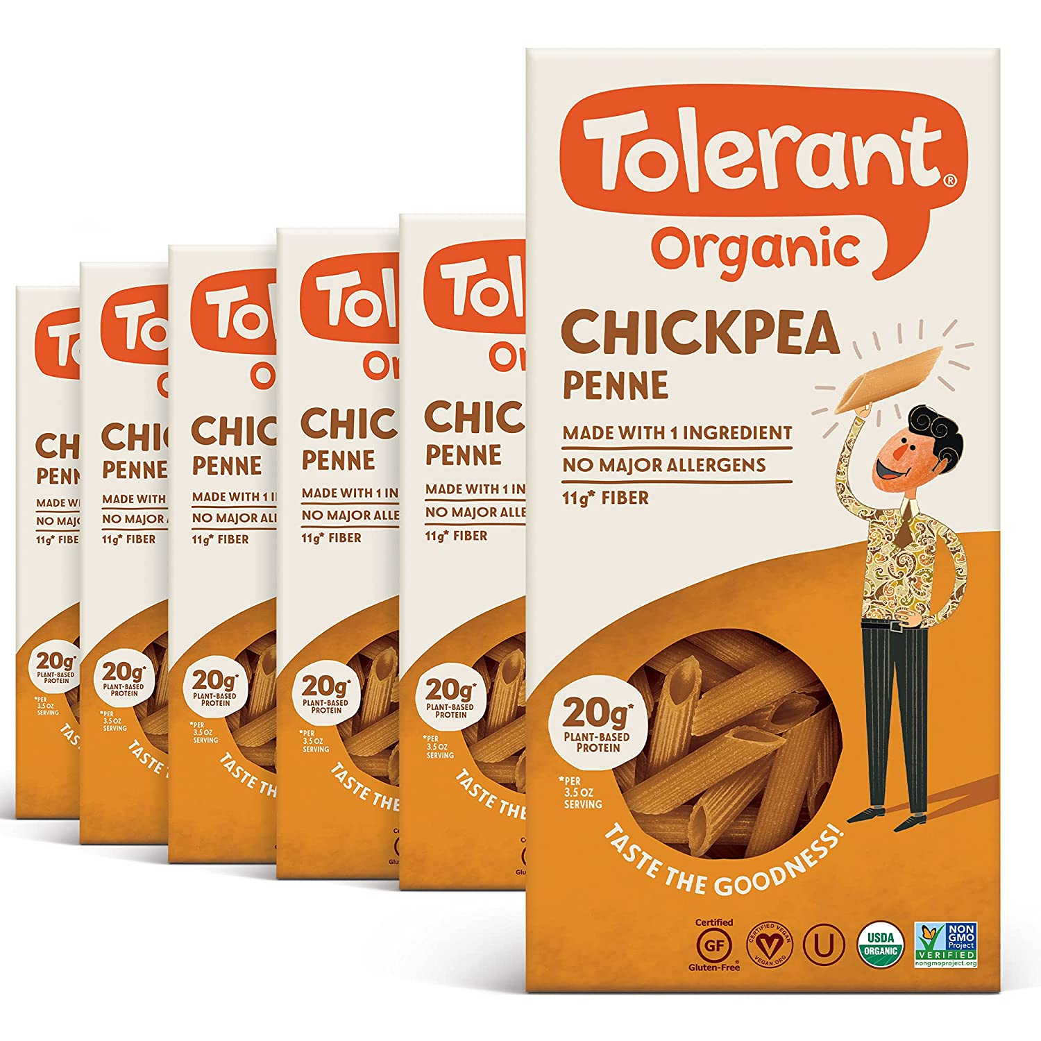 Tolerant Organic Gluten Free Chickpea Penne Pasta, 8 Ounce Box (Case of 6), Plant Based Protein, Vegan Pasta, Single Ingredient Protein Pasta, Whole Food, Clean Pasta, Low Glycemic Index Pasta