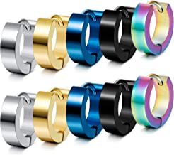 Jstyle Stainless Steel Unique Small Hoop Earrings for Men Huggie Earrings 5 Pairs